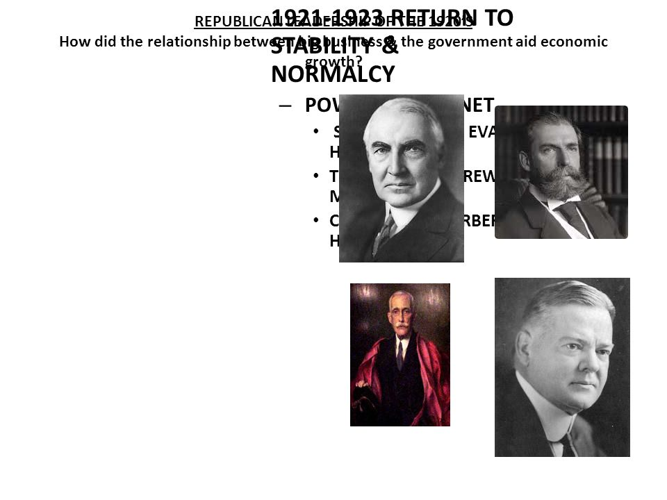WARREN G. HARDING 1921-1923 RETURN TO STABILITY & NORMALCY