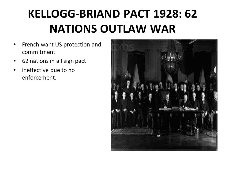 KELLOGG-BRIAND PACT 1928: 62 NATIONS OUTLAW WAR