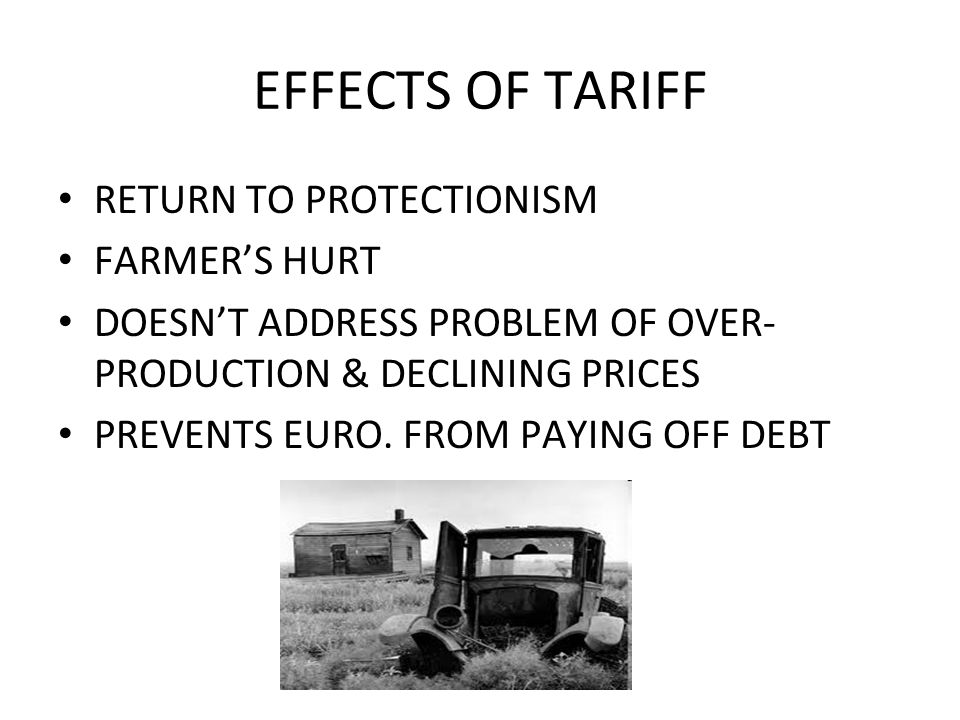 EFFECTS OF TARIFF RETURN TO PROTECTIONISM FARMER'S HURT