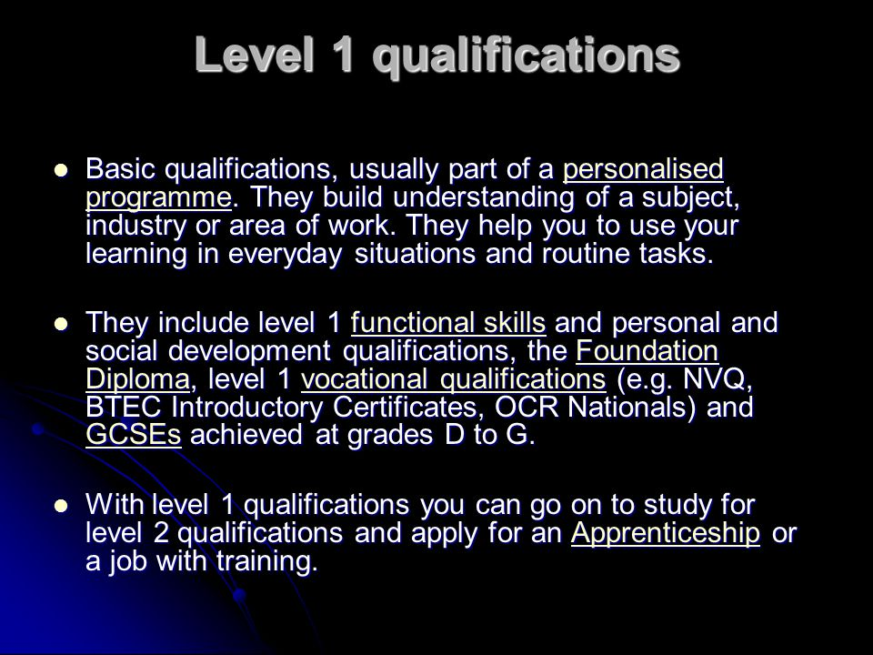 Level 1 qualifications