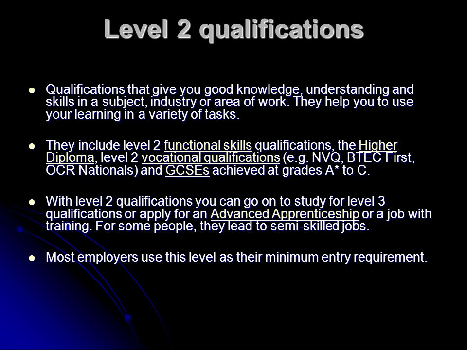 Level 2 qualifications
