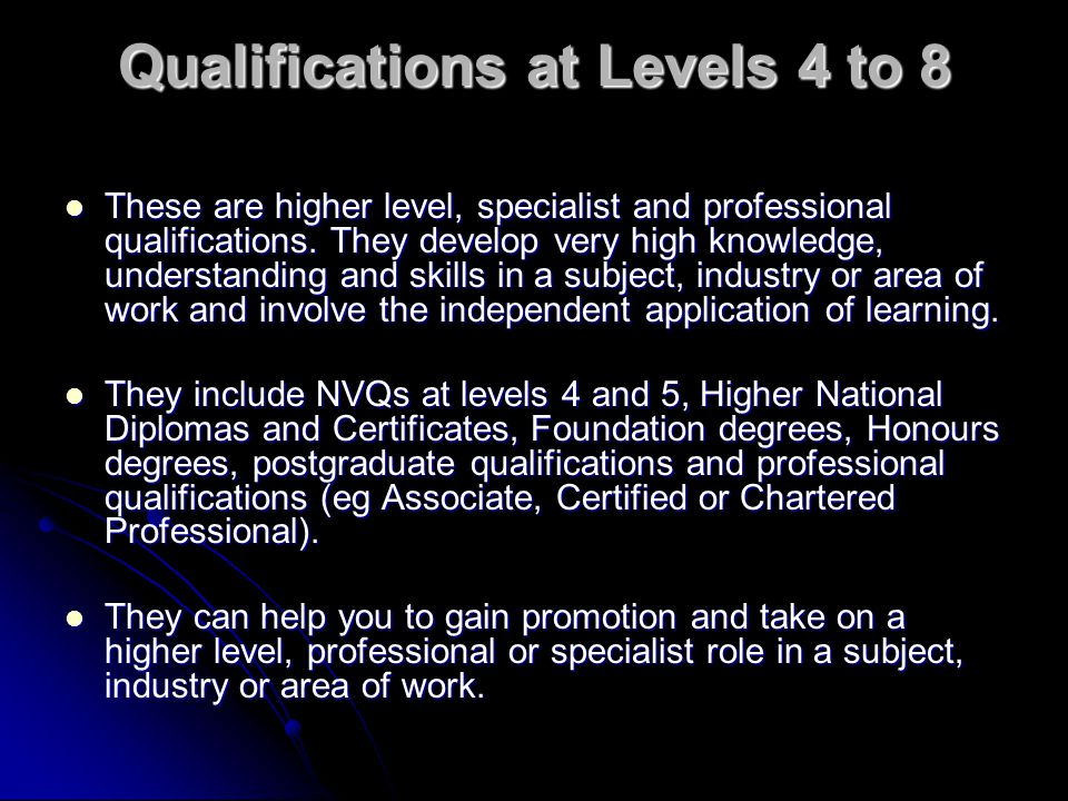Qualifications at Levels 4 to 8