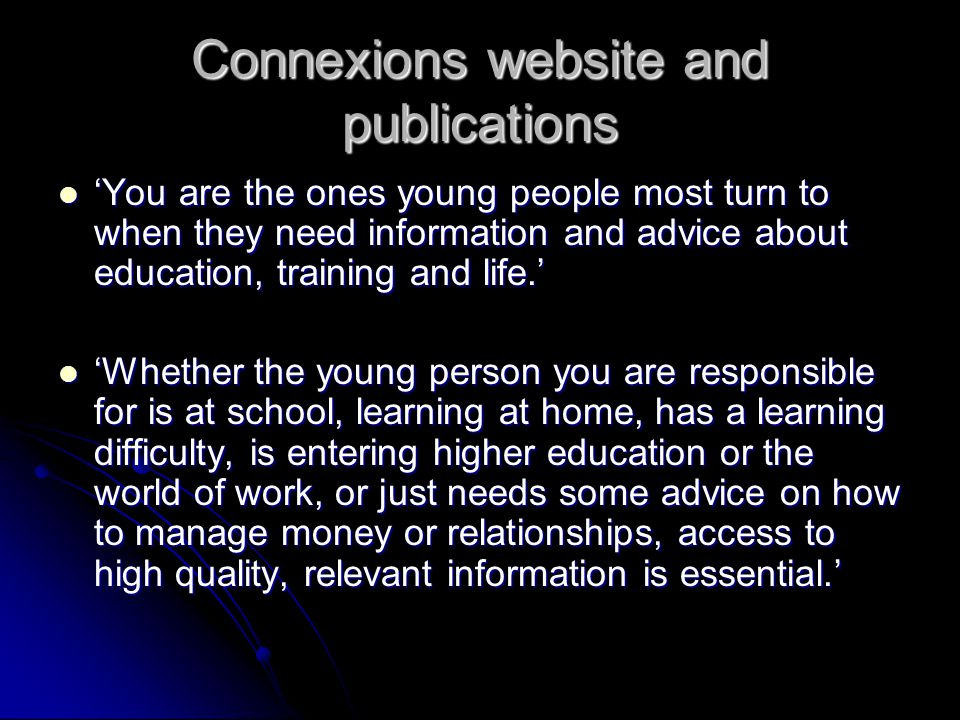 Connexions website and publications