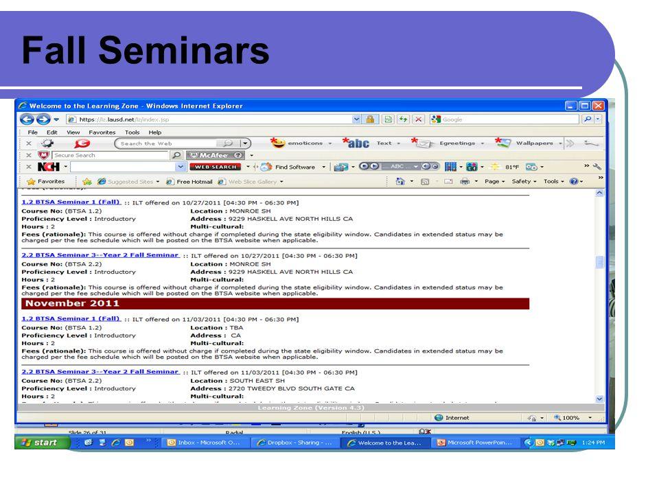 Fall Seminars
