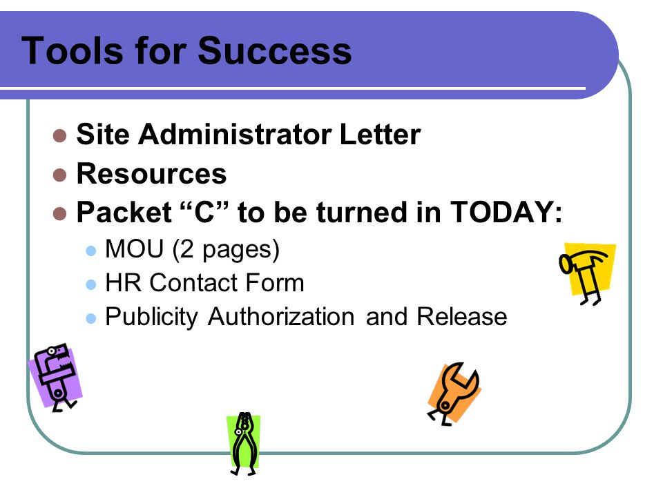 Tools for Success Site Administrator Letter Resources