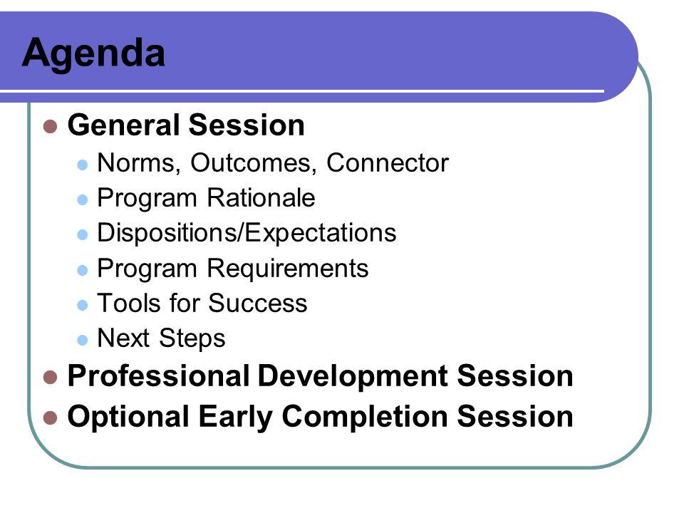 Agenda General Session Professional Development Session