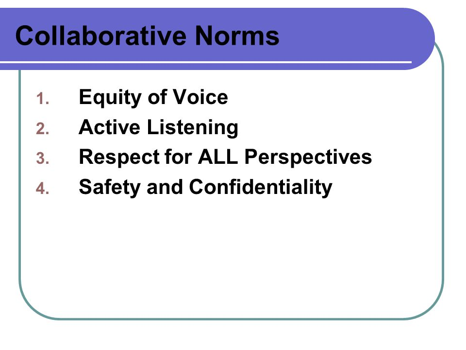 Collaborative Norms Equity of Voice Active Listening