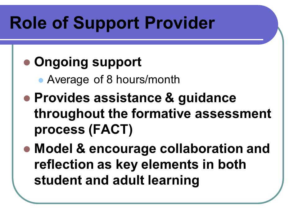 Role of Support Provider