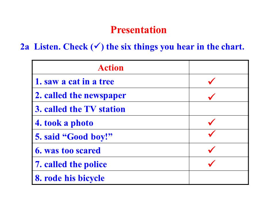 Presentation       Action 1. saw a cat in a tree