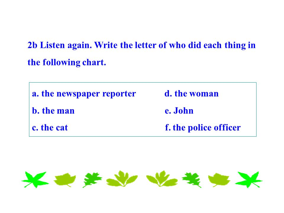 2b Listen again. Write the letter of who did each thing in the following chart.