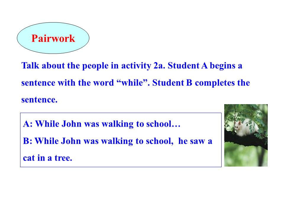 PairworkTalk about the people in activity 2a. Student A begins a sentence with the word while . Student B completes the sentence.