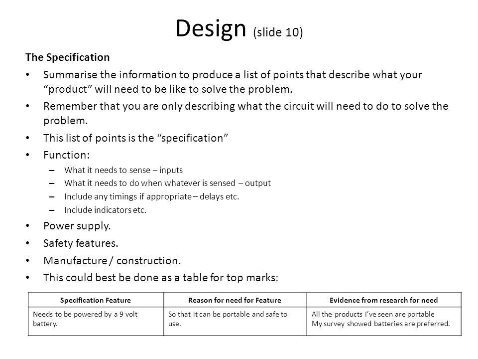 Design (slide 10) The Specification