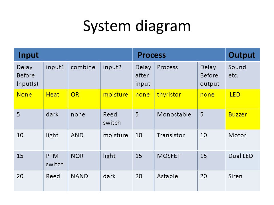 System diagram Input Process Output Delay Before Input(s) input1