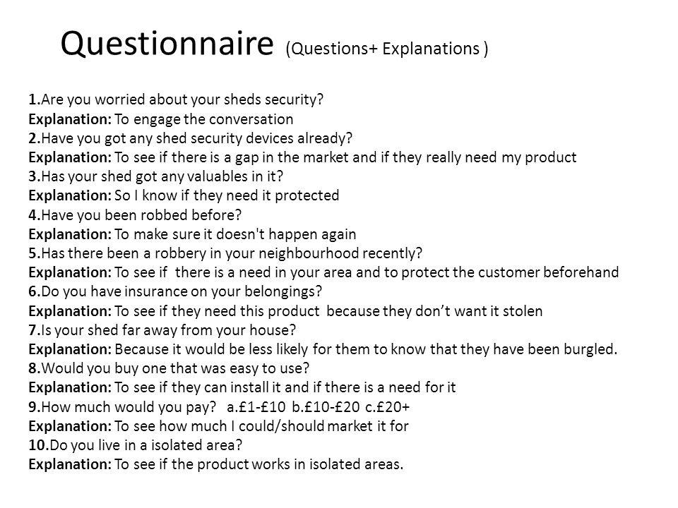 Questionnaire (Questions+ Explanations )