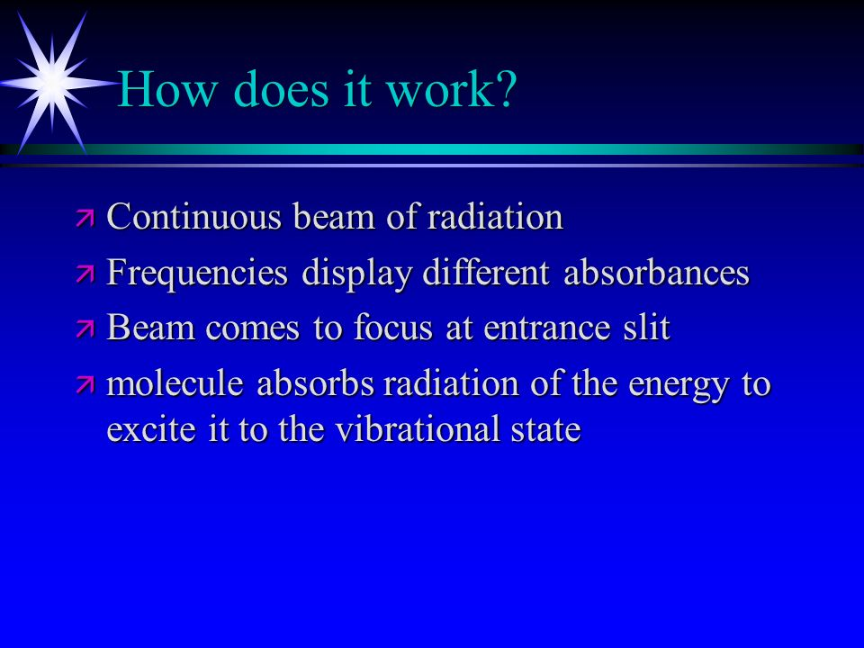 How does it work Continuous beam of radiation