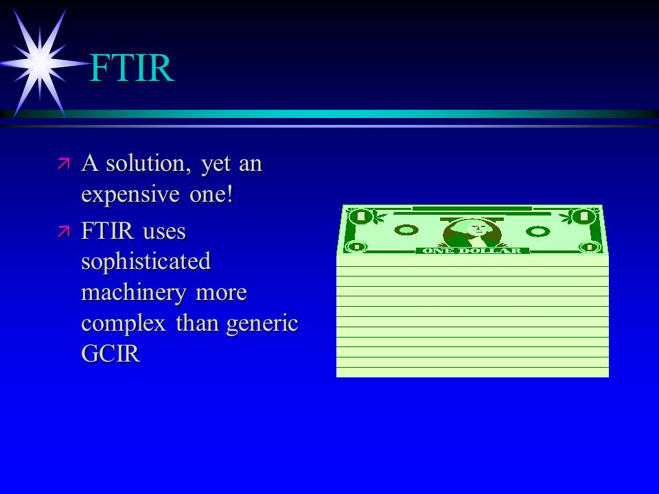 FTIR A solution, yet an expensive one!