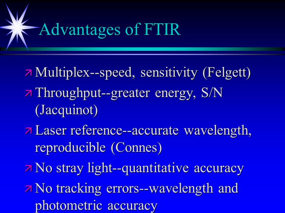 Advantages of FTIR Multiplex--speed, sensitivity (Felgett)