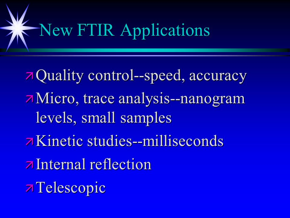 New FTIR Applications Quality control--speed, accuracy