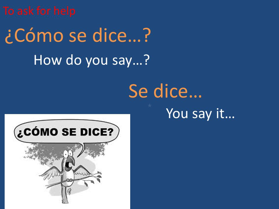 To ask for help ¿Cómo se dice… How do you say… Se dice… You say it…