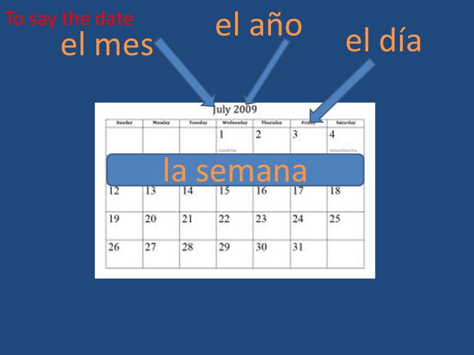 To say the date el año el día el mes la semana