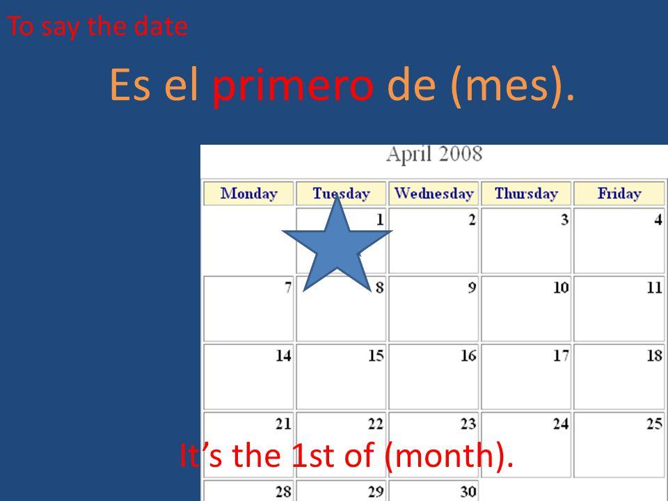 To say the date Es el primero de (mes). It's the 1st of (month).