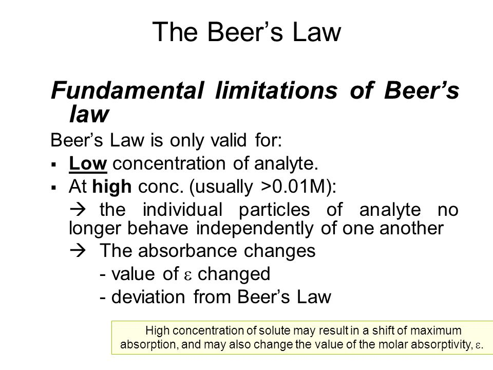 The Beer's Law Fundamental limitations of Beer's law