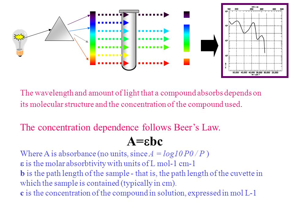 A=ebc The concentration dependence follows Beer's Law.