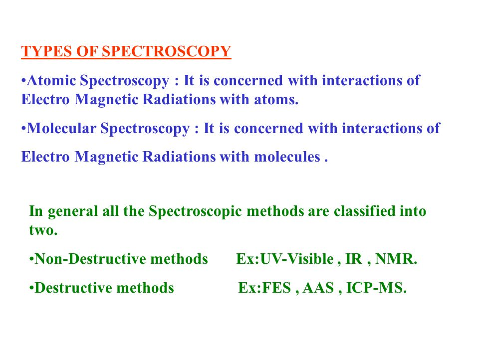 TYPES OF SPECTROSCOPYAtomic Spectroscopy : It is concerned with interactions of Electro Magnetic Radiations with atoms.
