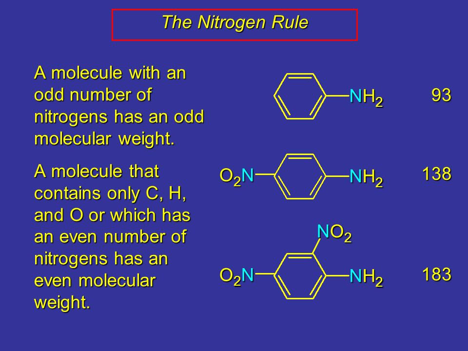 The Nitrogen Rule A molecule with an odd number of nitrogens has an odd molecular weight.