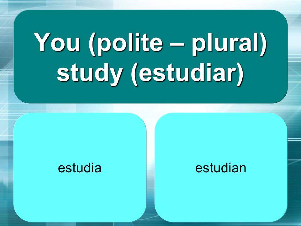 You (polite – plural) study (estudiar)
