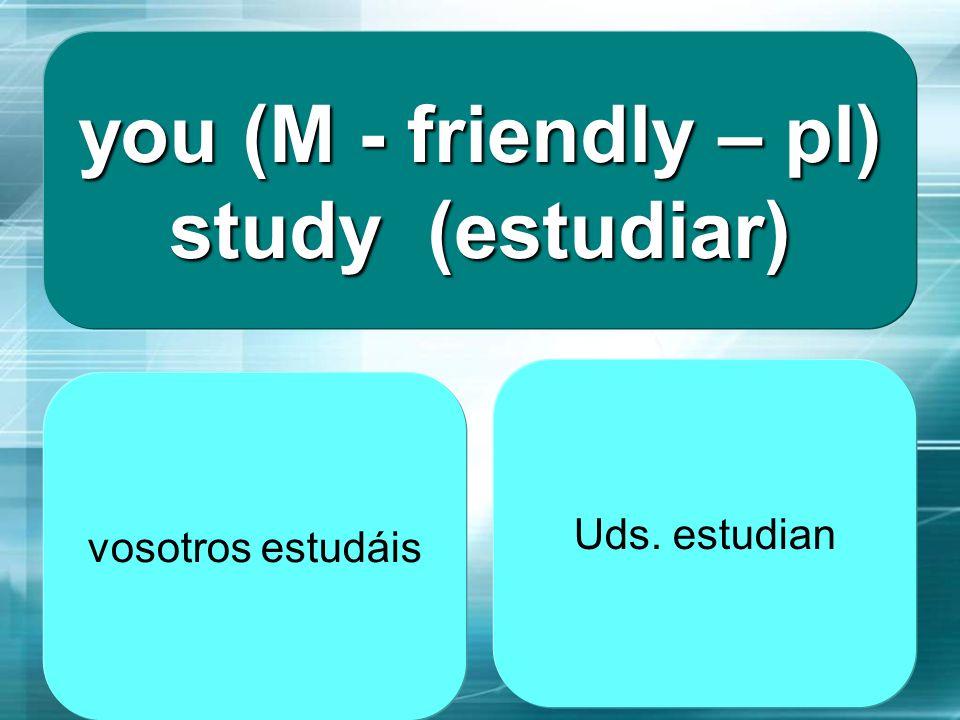 you (M - friendly – pl) study (estudiar)