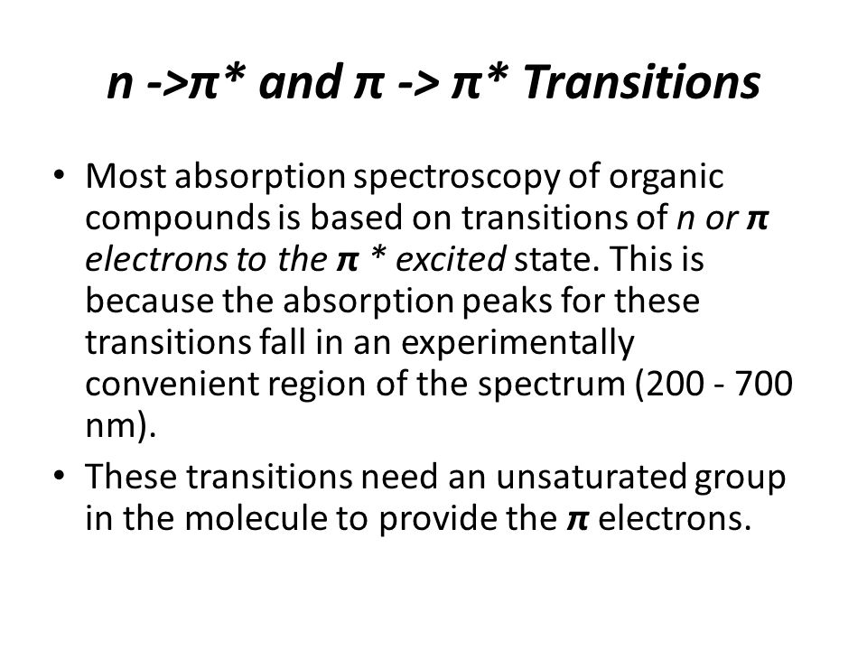 n ->π* and π -> π* Transitions