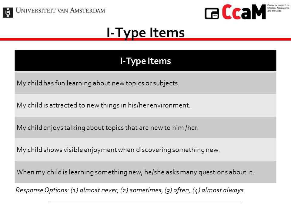 I-Type Items I-Type Items