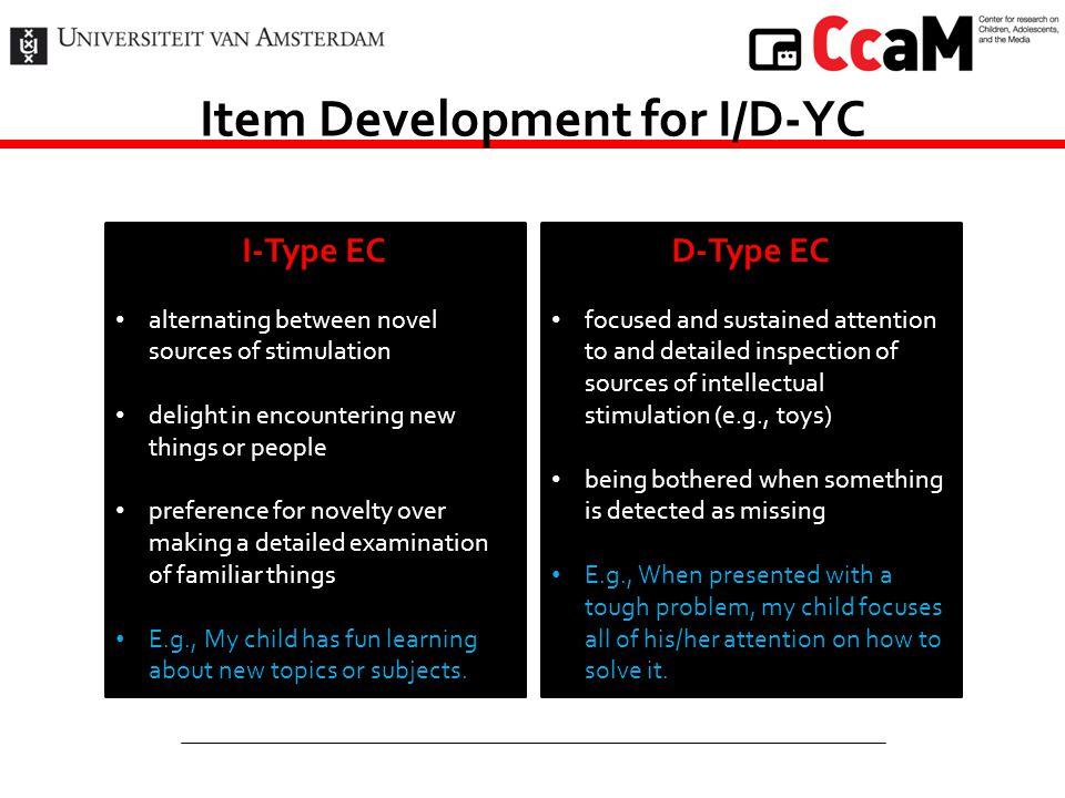 Item Development for I/D-YC