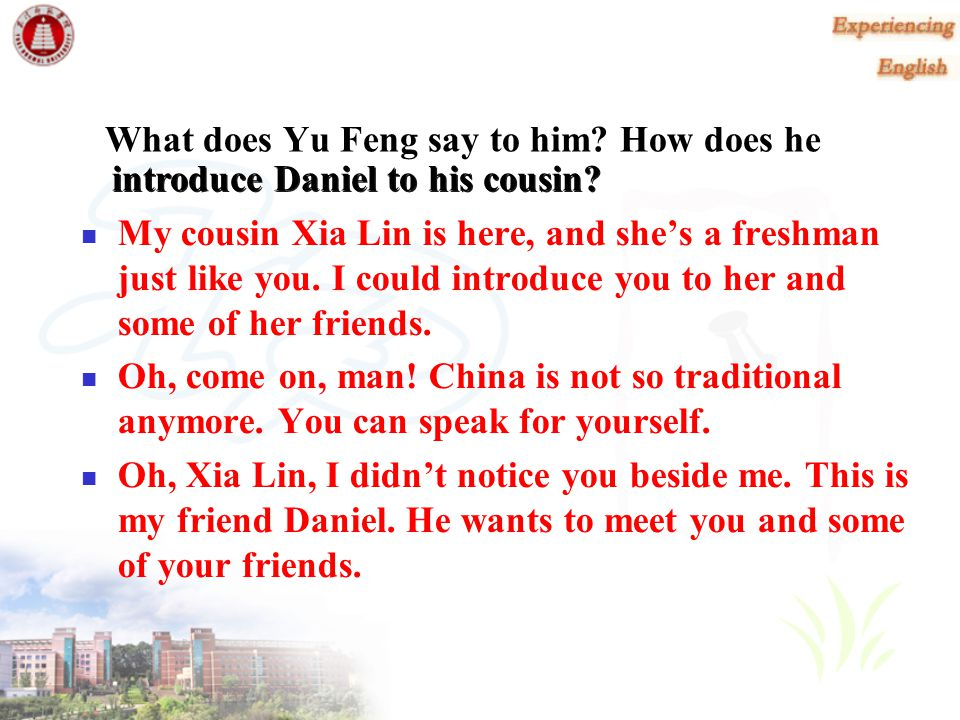 What does Yu Feng say to him How does he