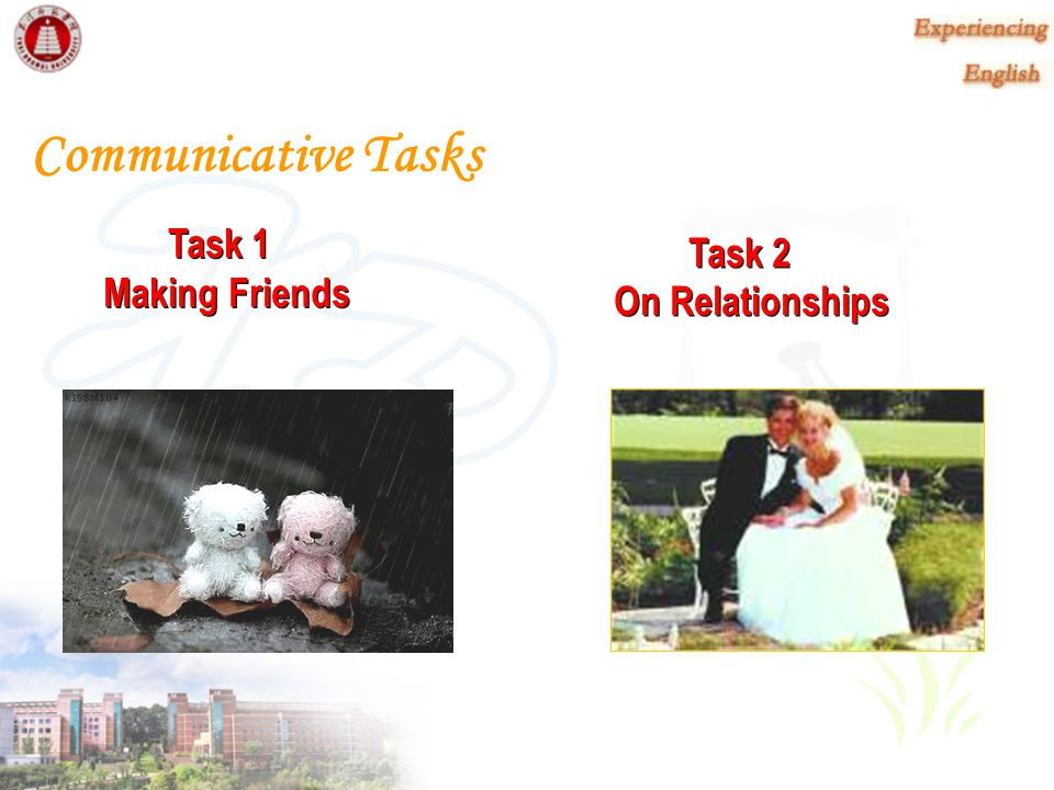 Communicative Tasks Task 1 Making Friends Task 2 On Relationships