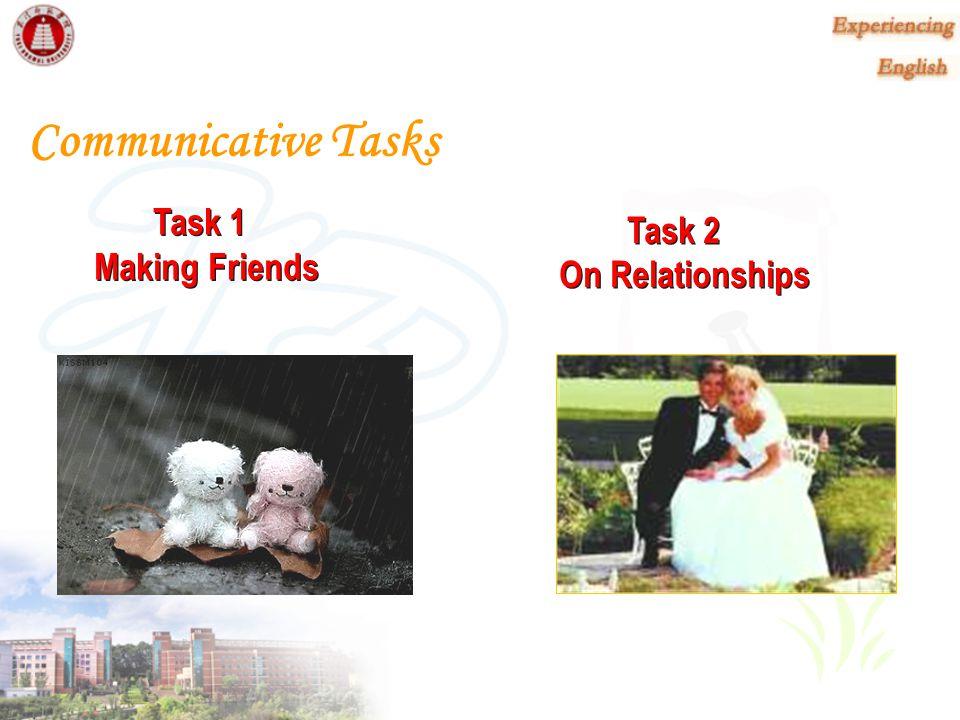 Communicative Tasks Task 1 Making Friends Task 2 On Relationships