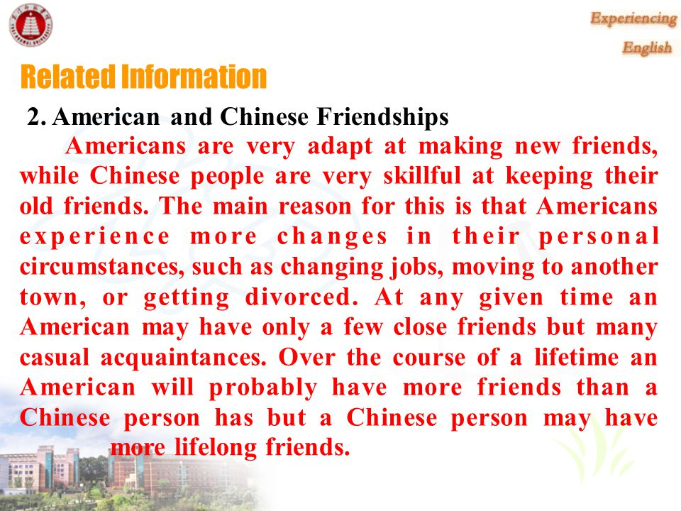 Related Information 2. American and Chinese Friendships
