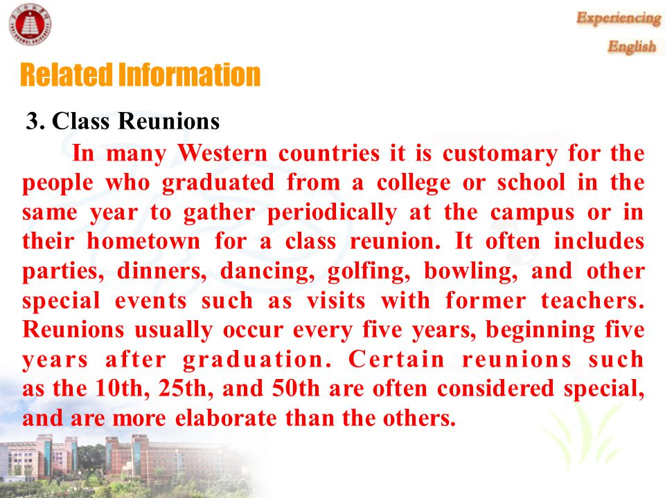 Related Information 3. Class Reunions