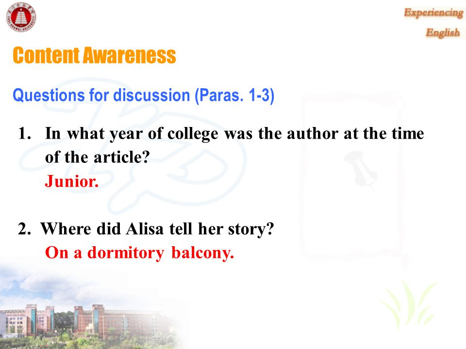 Content Awareness Questions for discussion (Paras. 1-3)