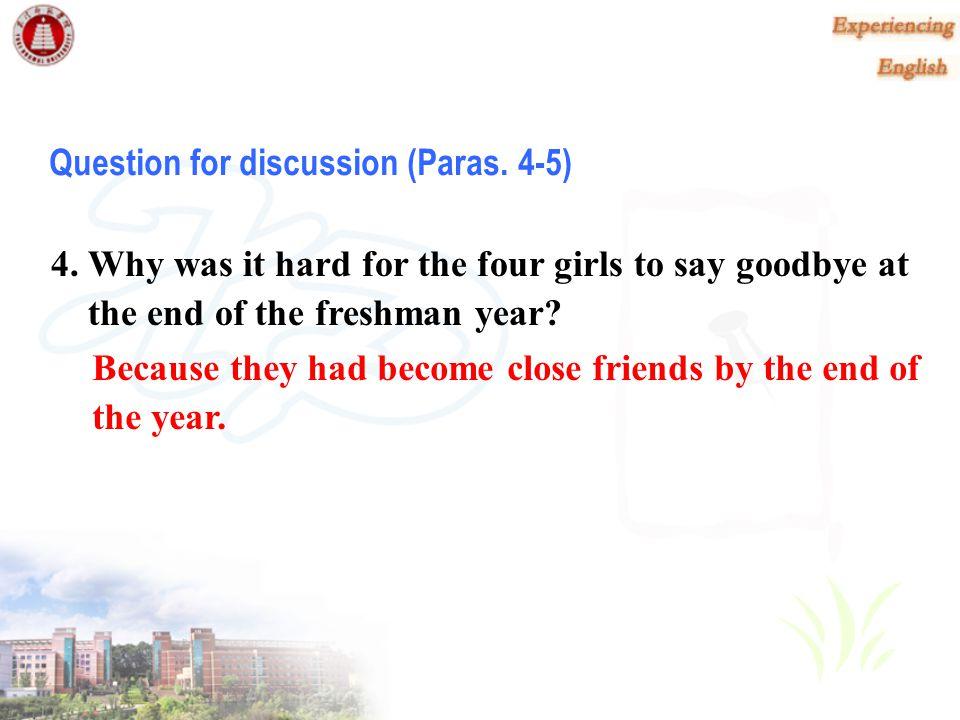 Question for discussion (Paras. 4-5)