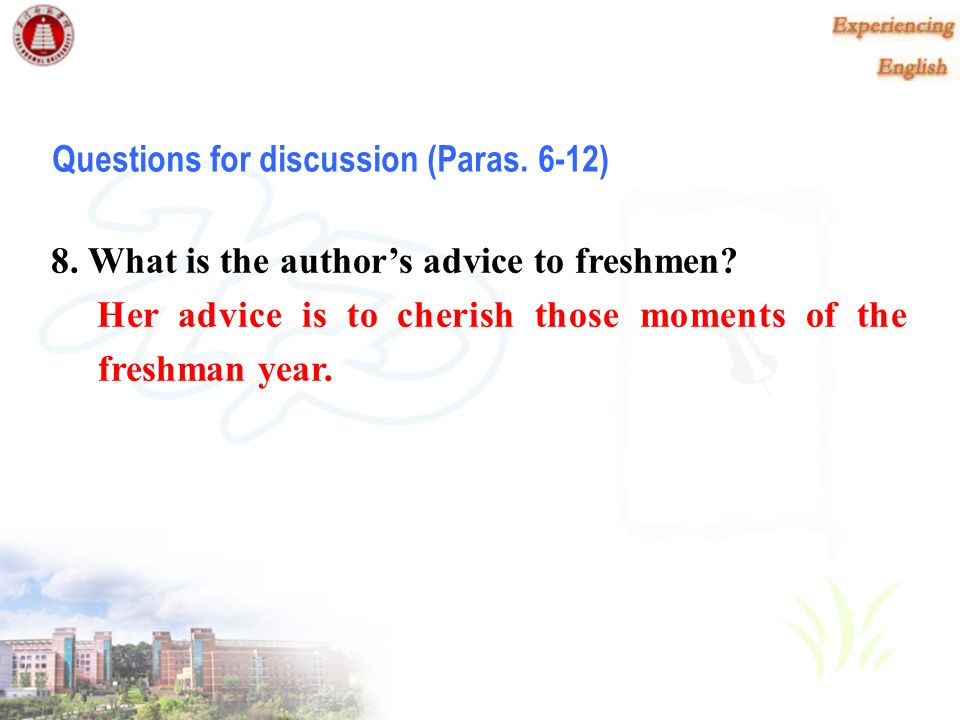 Questions for discussion (Paras. 6-12)