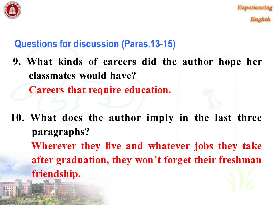 Questions for discussion (Paras.13-15)