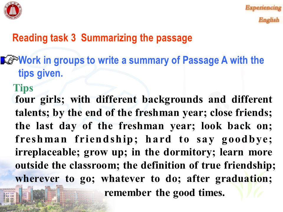 Reading task 3 Summarizing the passage