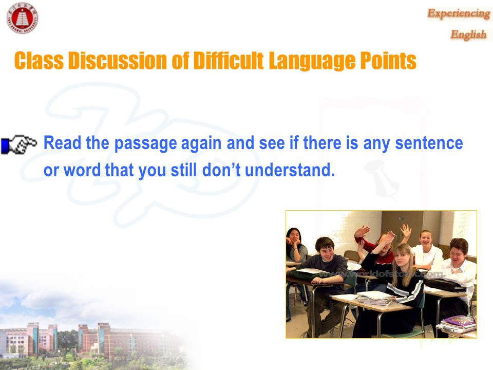 Class Discussion of Difficult Language Points