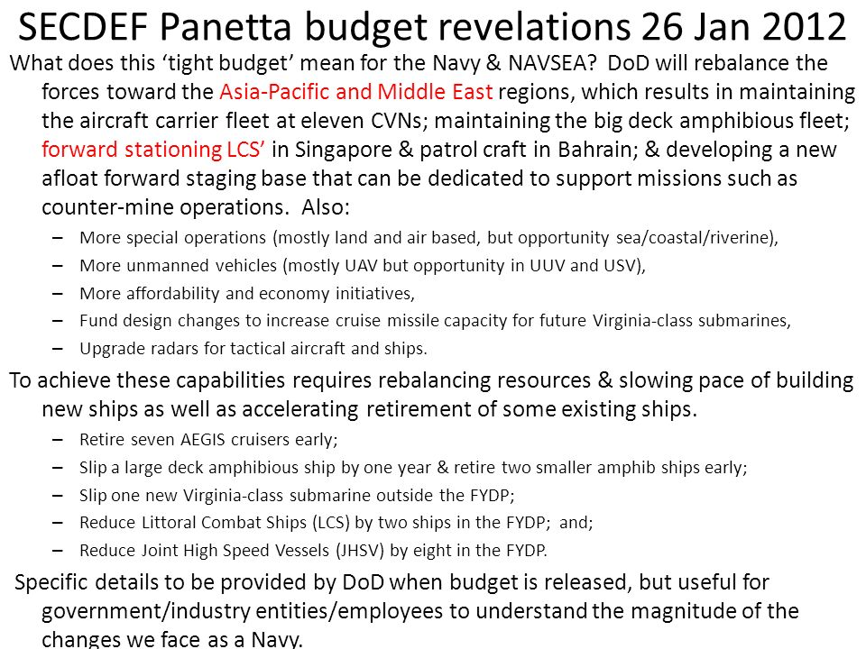 SECDEF Panetta budget revelations 26 Jan 2012