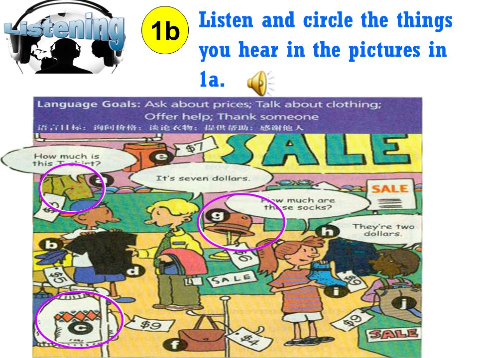 Listen and circle the things you hear in the pictures in 1a.