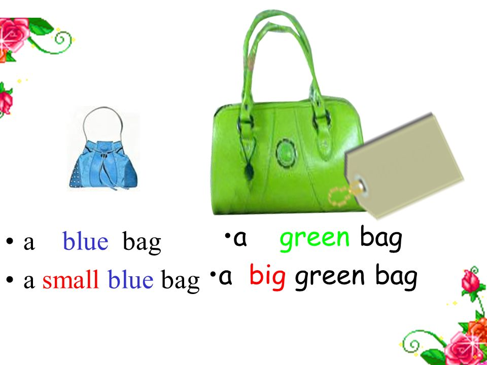 a green bag a big green bag a blue bag a small blue bag