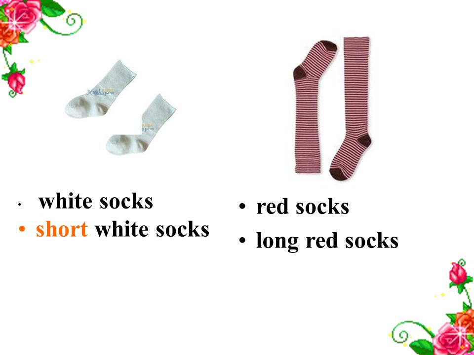 white socks short white socks red socks long red socks