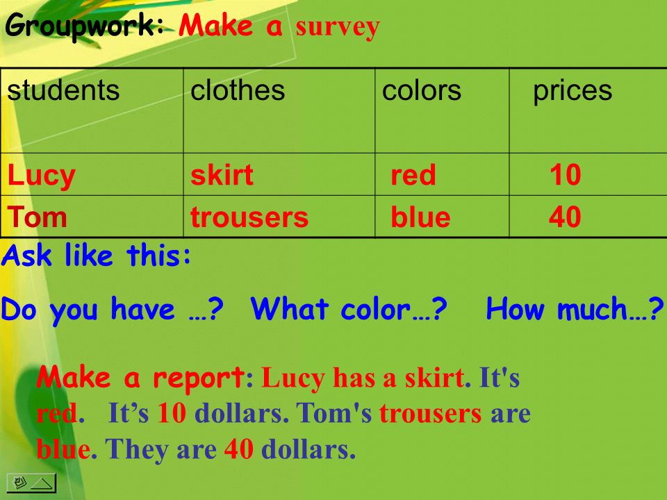 Groupwork: Make a survey